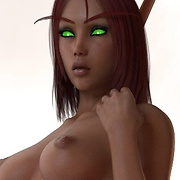 Bewitching elf girls pose in front of you
