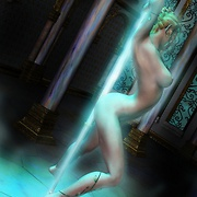 Elf babe dancing striptease beside the magical pole