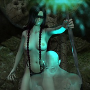 Hot witch with demon wings chanting naked